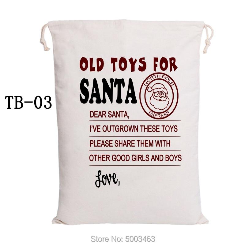 Handmade Christmas Bag 100pcs Santa Sacks Canvas Candy Bags Large Santa Claus Drawstring Bags Graduation Gift Party Decoration