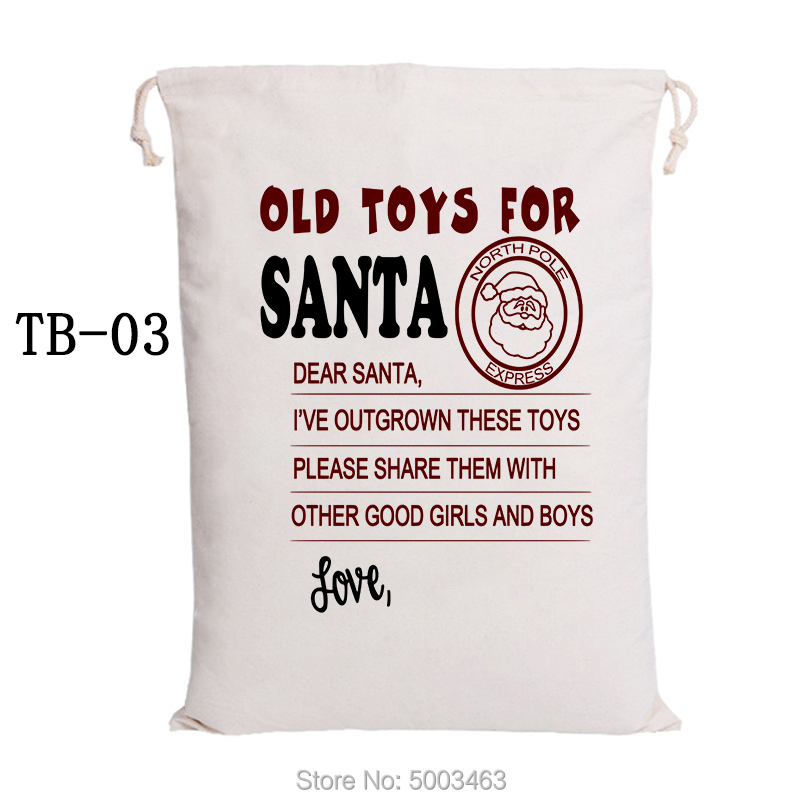 Santa Sacks 20pcs/lot Wholesale Christmas Bag Drawstring Party Canvas Bag Santa Claus Kids Bags Christmas Gift New Arrival
