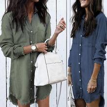 Платье из джинсовой ткани на осень длинный рукав каждый день
