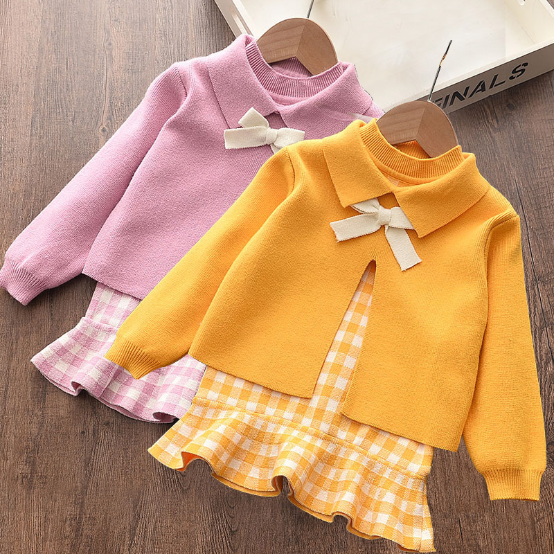 Baby girl clothes autumn and winter knitted sweater two-piece fashion girl plaid print vest sweater skirt baby girl sweater set