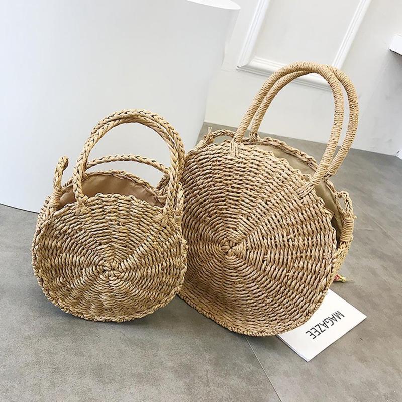 Small Circle Straw Travel Bag