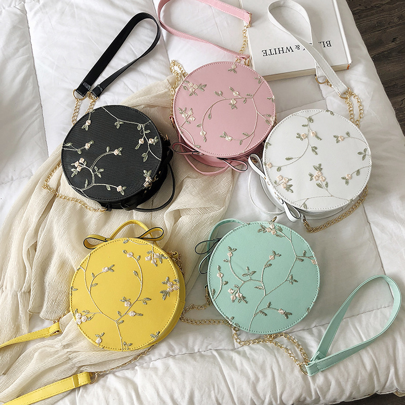 2020 Hot Sale Sweet Lace Round Handbags High Quality PU Leather Women Crossbody Bags Female Small Fresh Flower Chain Shoulde