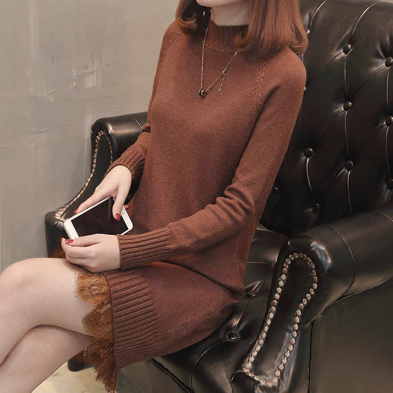 2020 Wanita Sweater dan Pullover Turtleneck Rajutan Tebal Sweater Wanita Panjang Longgar Musim Dingin Musim Gugur Pullover Renda WXF567
