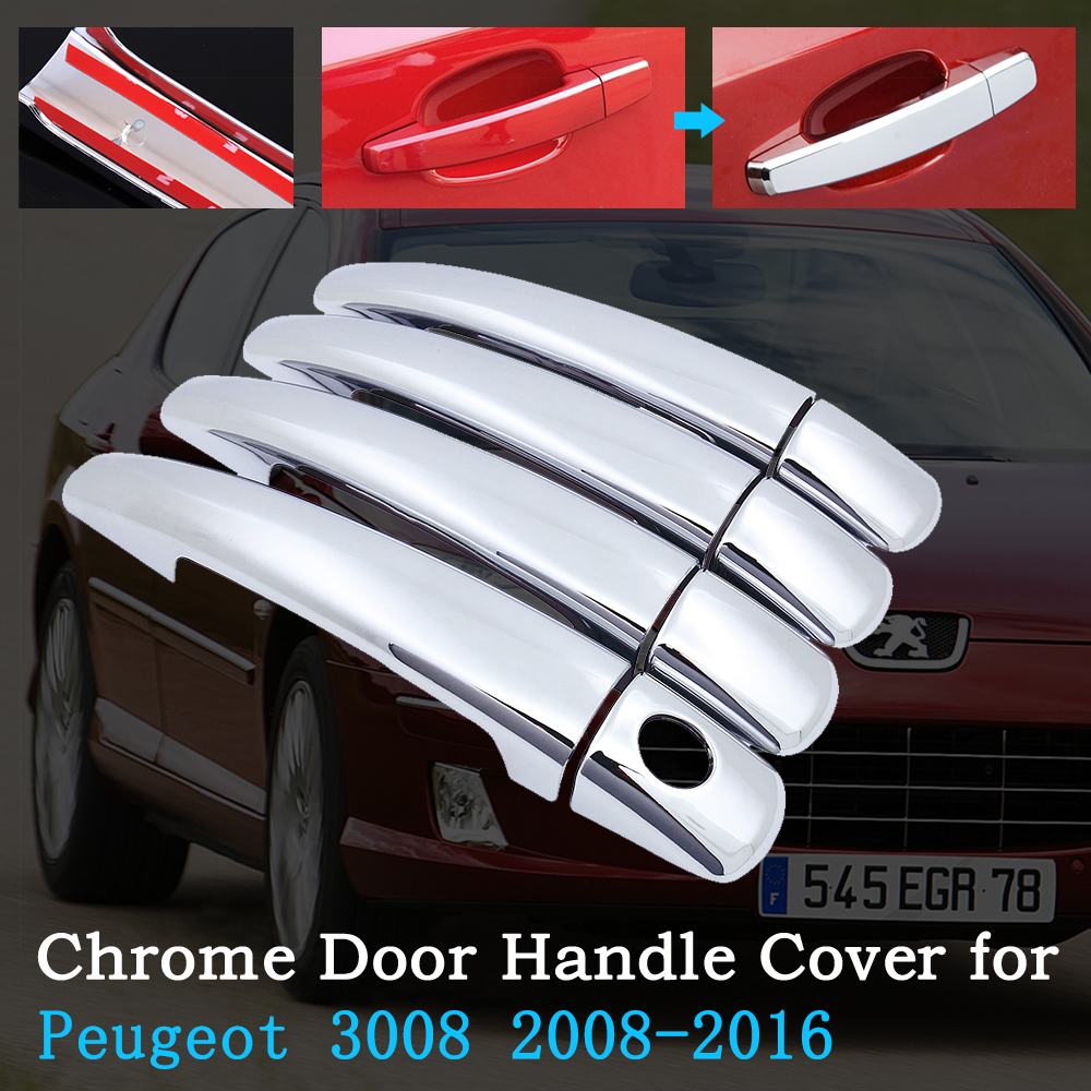 Chrome Car Door Handle Cover for Peugeot 3008 2008~2016 Trim Set Car Exterior Accessories 2009 2010 2011 2012 2013 2014 2015 image