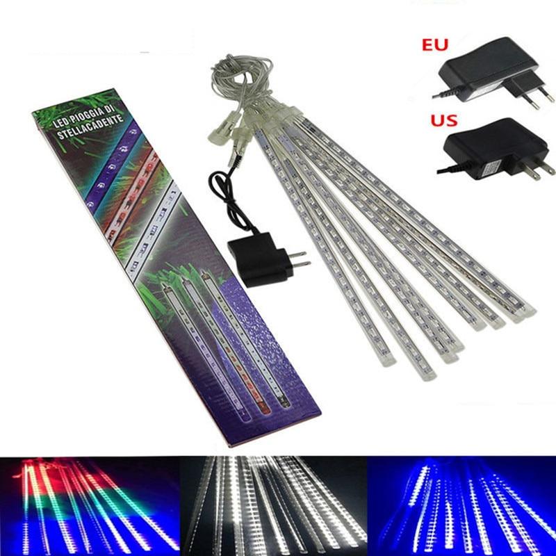8pcs/set Meteor Shower Rain LED Tubes Waterproof 110V 220V LED Christmas Lights Wedding Party Garden Xmas String Light Outdoor