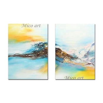Unframed 2 Panels Abstract Colorful Oil Painting 100% Hand Painted 2 Pieces Canvas Wall Art Paintings Artwork For Decoration