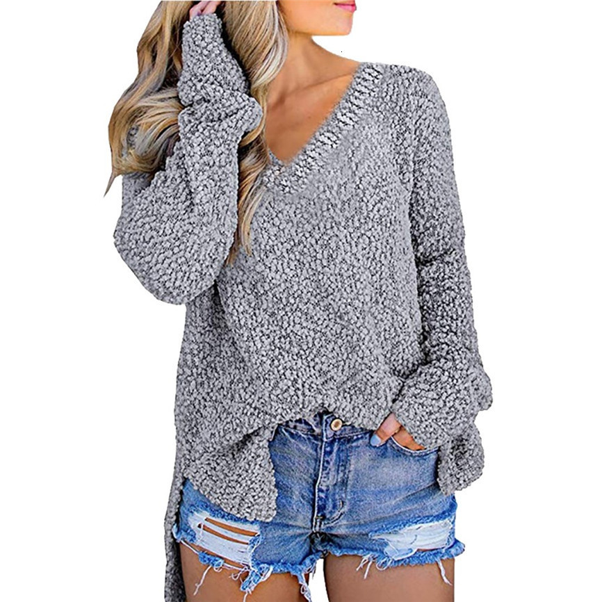 Autumn Women Knitted Sweater Solid Color Pullover V Neck Sweet Loose Long-sleeve Knitwear Sweaters Jumper Pull Femme Tops