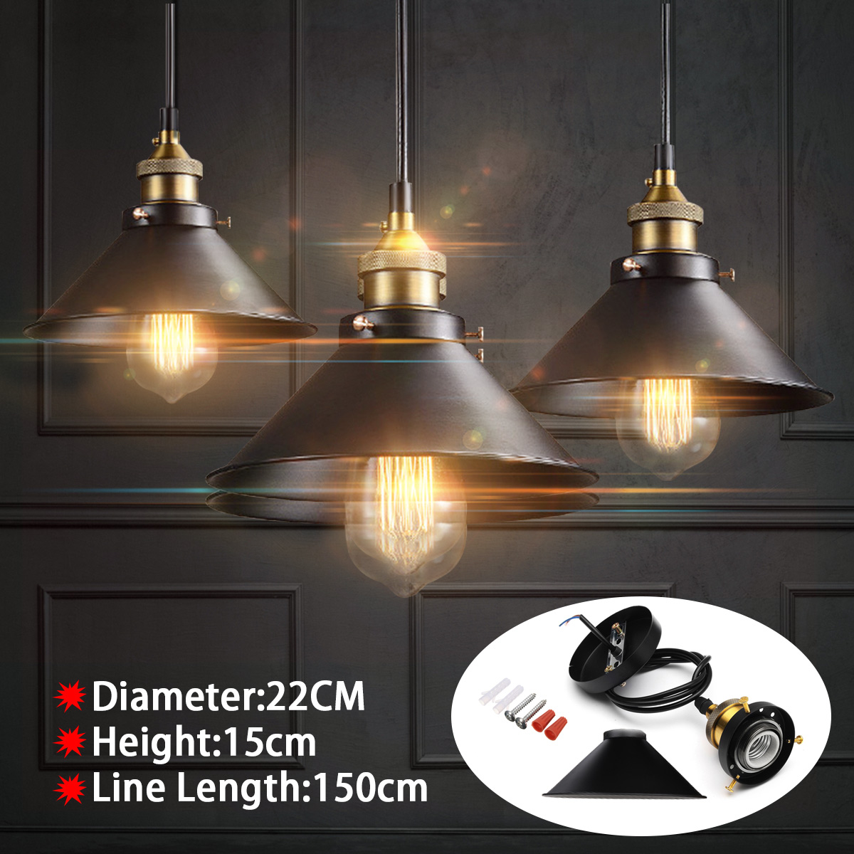 Loft Vintage Industrial Pendant Light Nordic Retro Iron Lights Edison Lamp Lighting Fixture For Cafe Bar Home Lighting