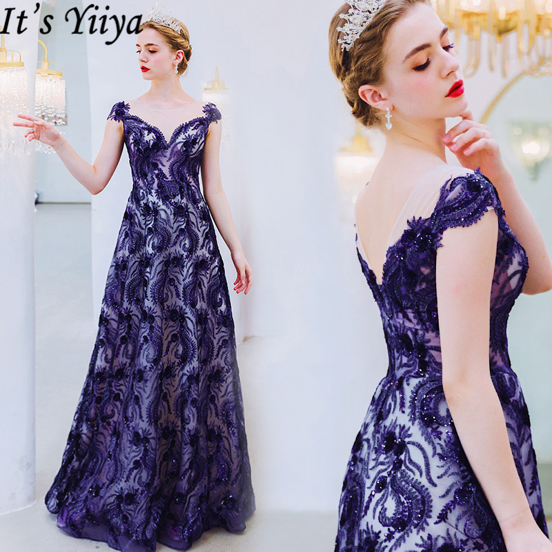 It's Yiiya Evening Dress V-Neck Backless A-Line Floor Length Robe De Soiree Short Sleeve Sequins Formal Dresses Plus Size E919