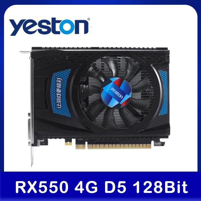 Видеокарта Yeston RX 550 RX550 4G D5, компьютерная видеокарта Radeon Chill PC 4 ГБ GDDR5 6000 бит МГц DP1.4HDR + HD2.0b + DVI-D + DP