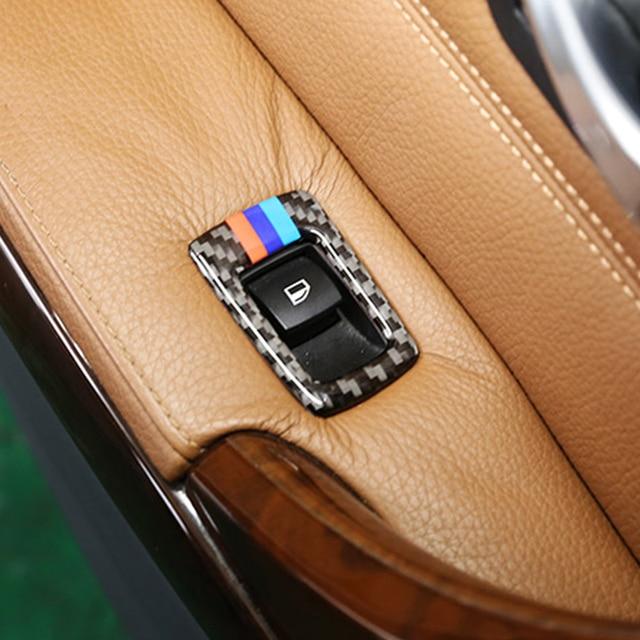 For BMW E90 E92 E93 3 Series 2005-2013 Right and Left Hand Drive Accessories Carbon Fiber Car Window Lift Button Frame Trim