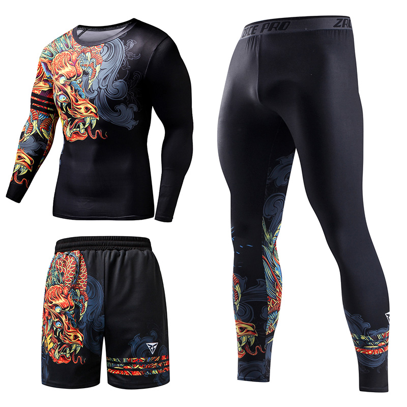 Chinese Style Men's Tracksuit Gym Fitness Compression Sports Suit Clothes Running Jogging Sport Wear Exercise Workout Tights