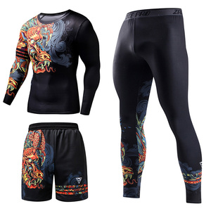 Image 4 - ZRCE Chinese Style Mens Tracksuit Gym Fitness Compression Sports Suit Clothes Running Jogging Sport Wear Exercise Workout Set