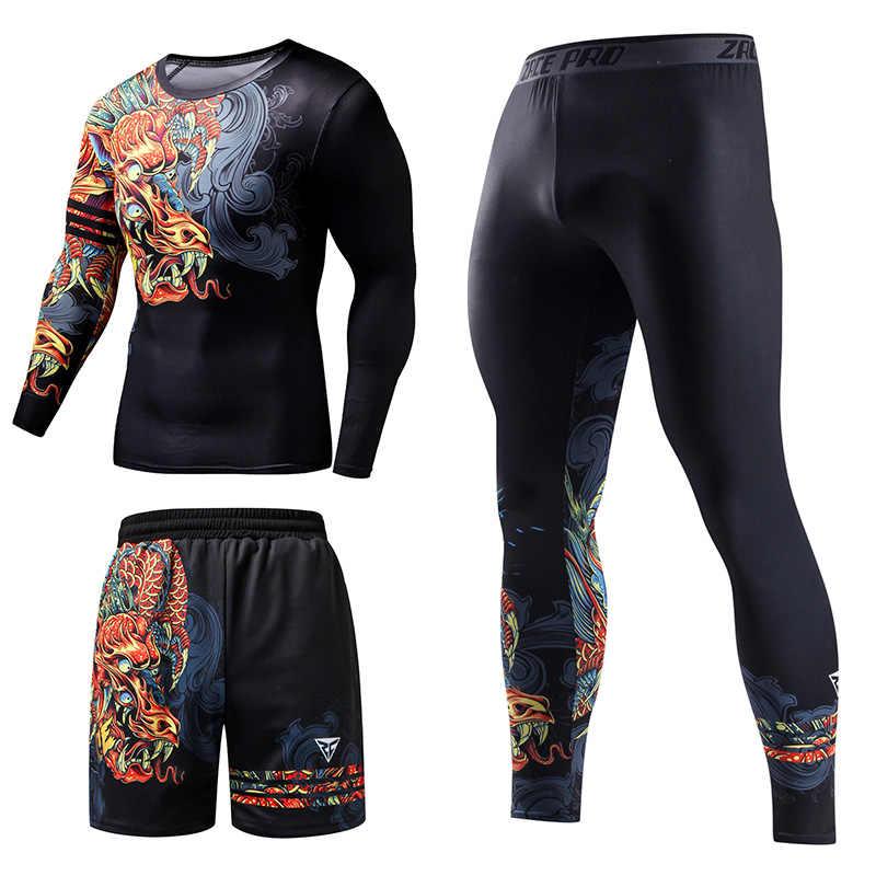 ZRCE Chinesischen Stil Männer der Trainingsanzug Gym Fitness Compression Sport Anzug Kleidung Laufen Jogging Sport Tragen Übung Workout Set