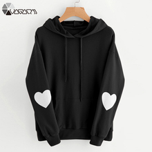 New Heart Print Sweet Long Sleeve Hoodies Women Pink Hooded Sweatshirt Winter Autumn Loose Casual Pullover Preppy