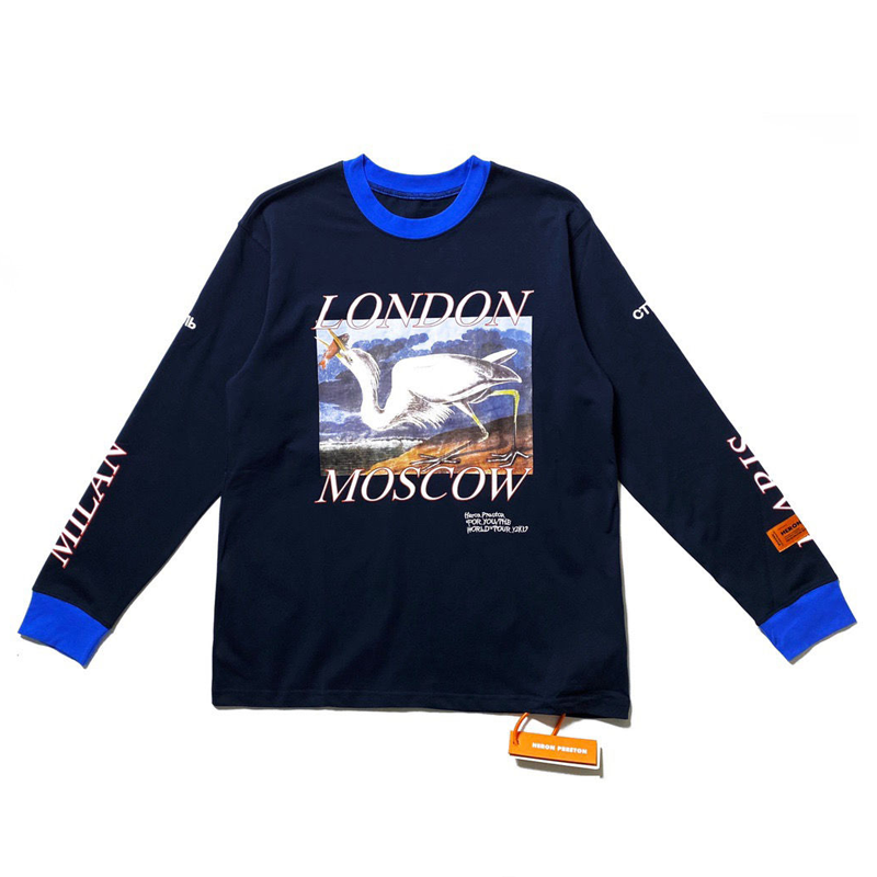 Heron preston crane printing long sleeved sweater men and women 2
