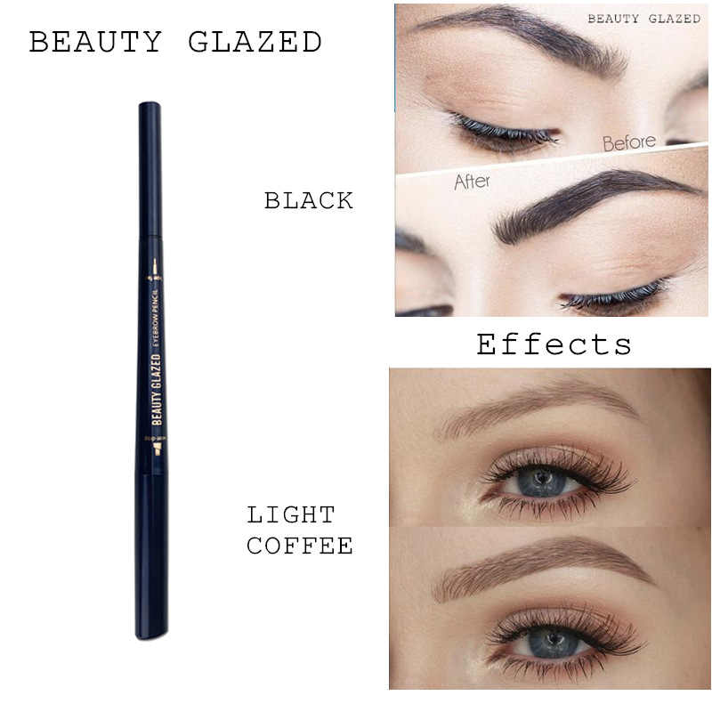 Beauty Glazed Eyebrow Pencil Waterproof Lasting Black Brown Double Ended Eyebrow Pencil & Eyebrow Brush Tint Cosmetics TSLM2