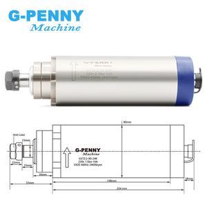 Image 3 - כרסום CNC ציר מנוע 2.2 kw ER20 220v אוויר קירור ציר מנוע 2.2kw אוויר מקורר 80x224mm 4 מסבים עבור CNC חריטה