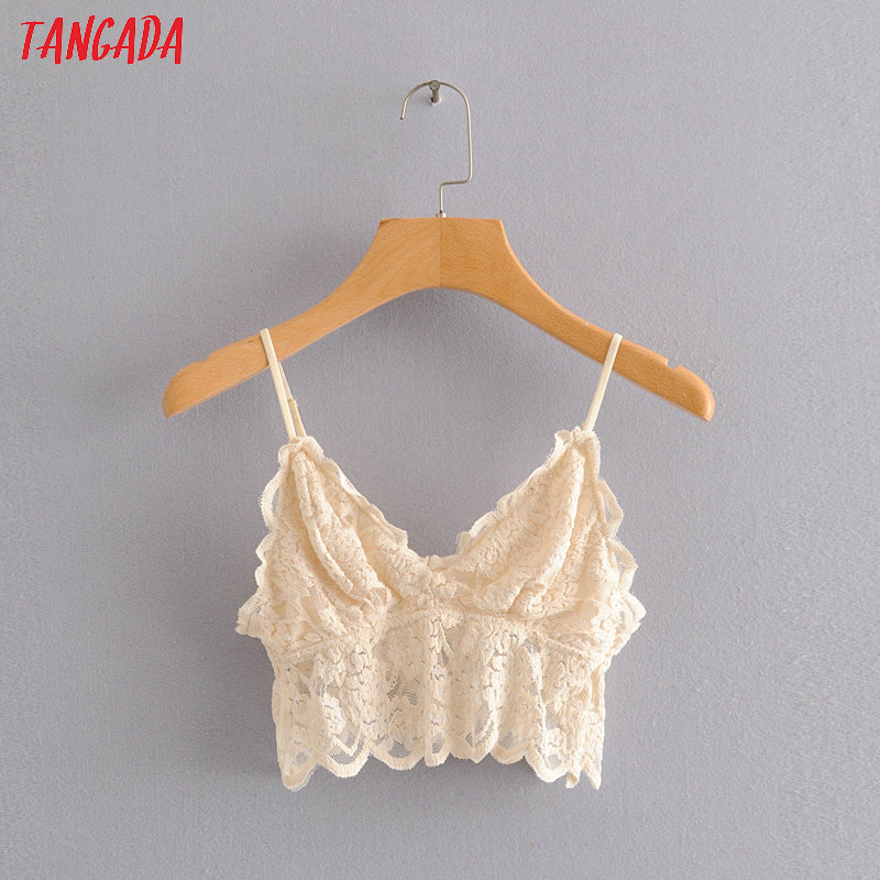 Tangada Women Sexy Beige Lace Camis Tank Top Strap Adjust Sleeveless Backless Female Chic Strenchy Tops HY32