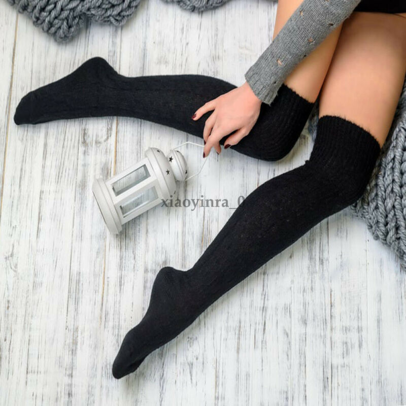 2019 New Arrival Winter Women Cable Knit Solid Extra Long Boot Tight Over Knee Thigh High School Girl  Warm
