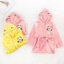 TELOTUNY фланелевый теплый зимний банный халат для малышей, пижамы, халаты флисовая ночная рубашка с капюшоном и героями мультфильмов, полотенце, одежда для сна Домашняя одежда ZN07