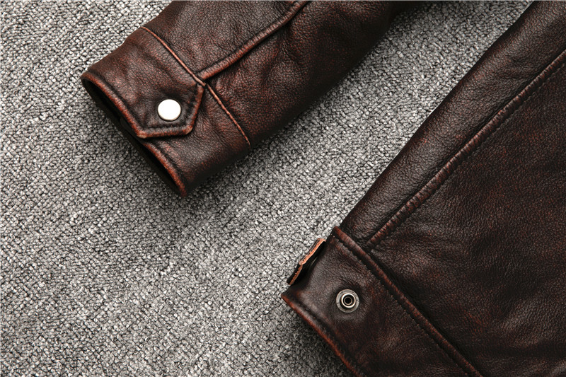 H87da3d56d15448b095bd9f06876d016e0 Classic motor style,vintage genuine leather Jacket,fashion men brown Leather coat,street biker coat,sales