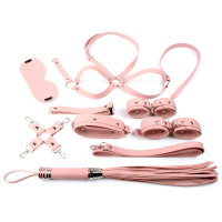 10PCS Napa Leather Adults Games Bondage Set Collar Handcuffs Eyemask Mouth Gag Breast Whip Chastity Belt SM Sex Toys For Couple