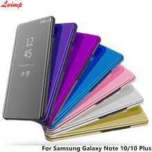 Smart Mirror Case For Samsung Galaxy Note 10 Plus Case Clear View Flip Stand PU Leather Cover For Samsung Note 10 Note10 5G Case(China)