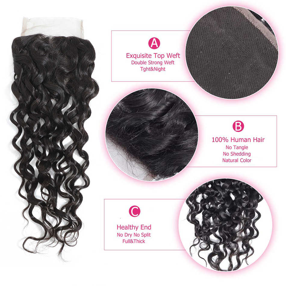 Liddy pacotes com fechamento malaio onda de água pacotes de cabelo com fechamento 100% cabelo humano cor natural não remy extensões de cabelo