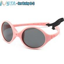 IVSTA 0-3 Neugeborenen Baby Sonnenbrille Kleine Kinder Sonnenbrille Mädchen Keine Schraube Unzerbrechlich Gummi TR90 Silikon Rahmen TAC Polarisierte objektiv