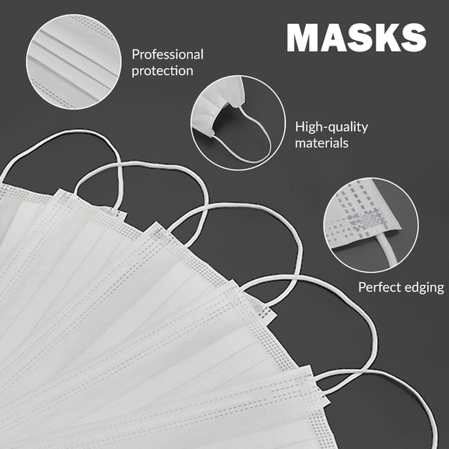 50/100pcs Disposable Face Mouth Mask Anti Virus Medical Mask 3 Layer Non-woven Bacteria Proof Flu Facial Safety Masks 4