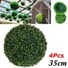 4 PCS 35cm Plastic Topiary Ball Tree Leaf Effect Ball Hanging Home Garden Decor Faux Boxwood Plant