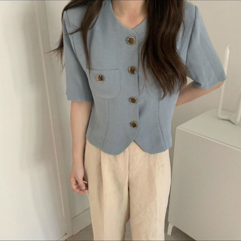 Women Summer Cotton Short Blazers Coat Jackets With Pockets Single Breasted Chaqueta Mujer Blue Casual Blazer Feminino