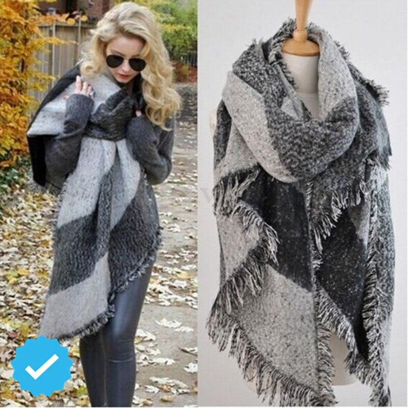 Модный женский кашемировый шарф, утолщенный теплый зимний шарф в клеточку шаль двухсторонний плащ, шаль, одеяло, теплое пончо HO950750