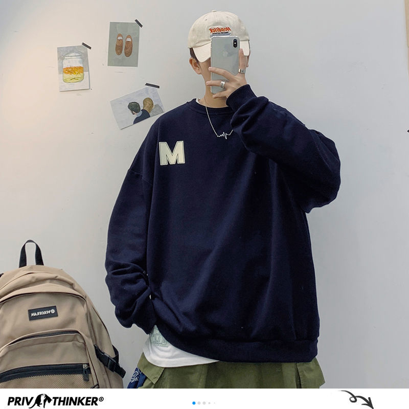Privathinker Man Fashion Casual Spring Sweatshirts Mans O-neck 4 Colors Harajuku Hoodies Male Woman Korean 2020 Printed Clothes