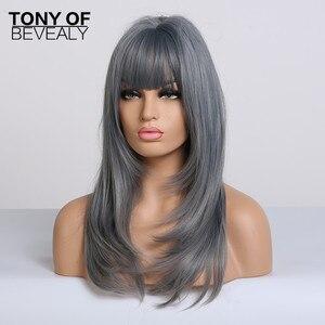 Image 2 - Pelucas de pelo largo ondulado sintético resistente al calor para Mujeres Afro Americanas, color azul degradado, con flequillo