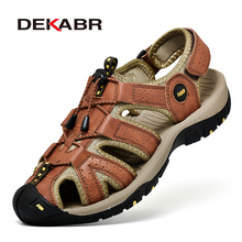 Dekabr屋外ファッション男性のサンダル夏の男性の靴カジュアルシューズ通気性ビーチサンダルsapatos masculinosプラスサイズ 38 46