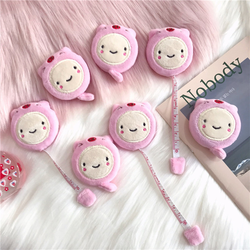 LoveFrom 1 Pcs Pink Cute Pig Plush Mini 1.5m Tape Measure With Double-sided Clothes Small Tape Measure Band Tape Stationery