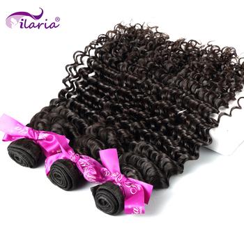 ILARIA włosy peruwiański naturalne kręcone włosy głęboka fala wiązki 100 peruwiański splecione ludzkie włosy naturalny kolor 3 pełny pakiet miękkie włosy tanie i dobre opinie = 10 Peruwiańskie włosy #613