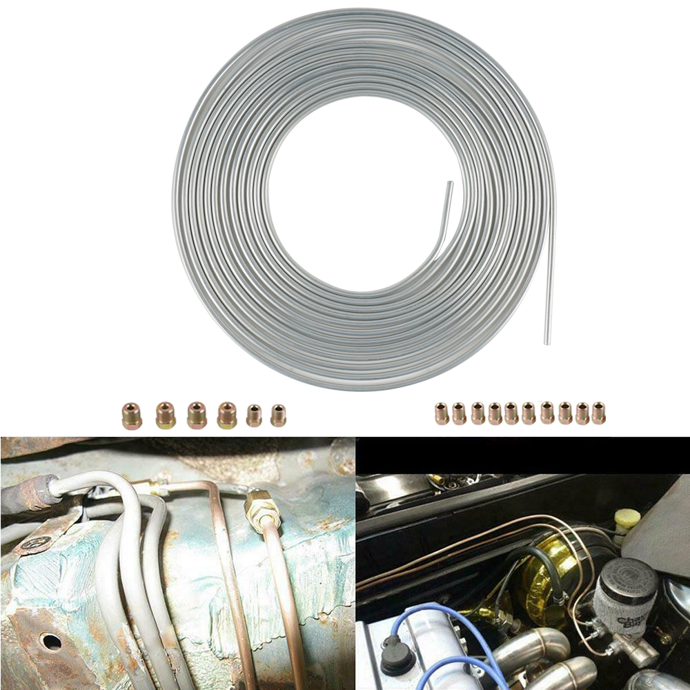 "Roll Coil of 3//16/"" OD Copper Nickel Brake Line Tubing Kit Fittings new TS 25 Ft"