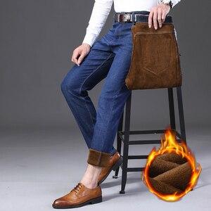Image 5 - Jantour Inverno Termico Flanella Caldo di Stirata Dei Jeans del Mens di Marca di Alta Qualità Pantaloni In Pile da uomo Dritto Pantaloni affollano jean 40 42 44