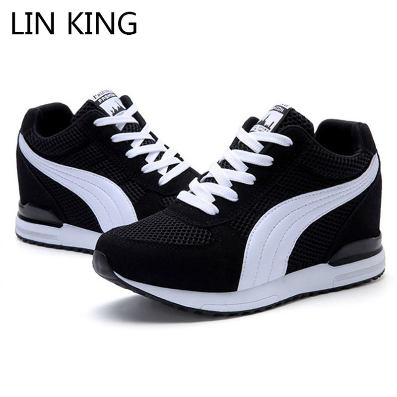 LIN KING New Spring Autumn Women Vulcanized Shoes Lace Up Wedges Casual Shoes Woman Height Increase Shoes High Top Lady Sneakers
