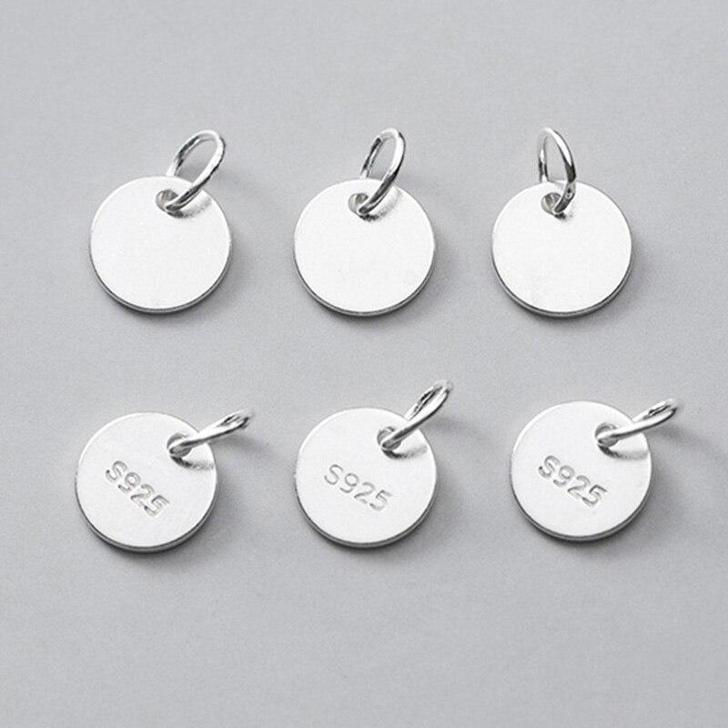 4pcs Sterling Silver tag lotus charm 925 silver lotus Pendants small Disc charm lotus necklace charm Tag bracelet charms
