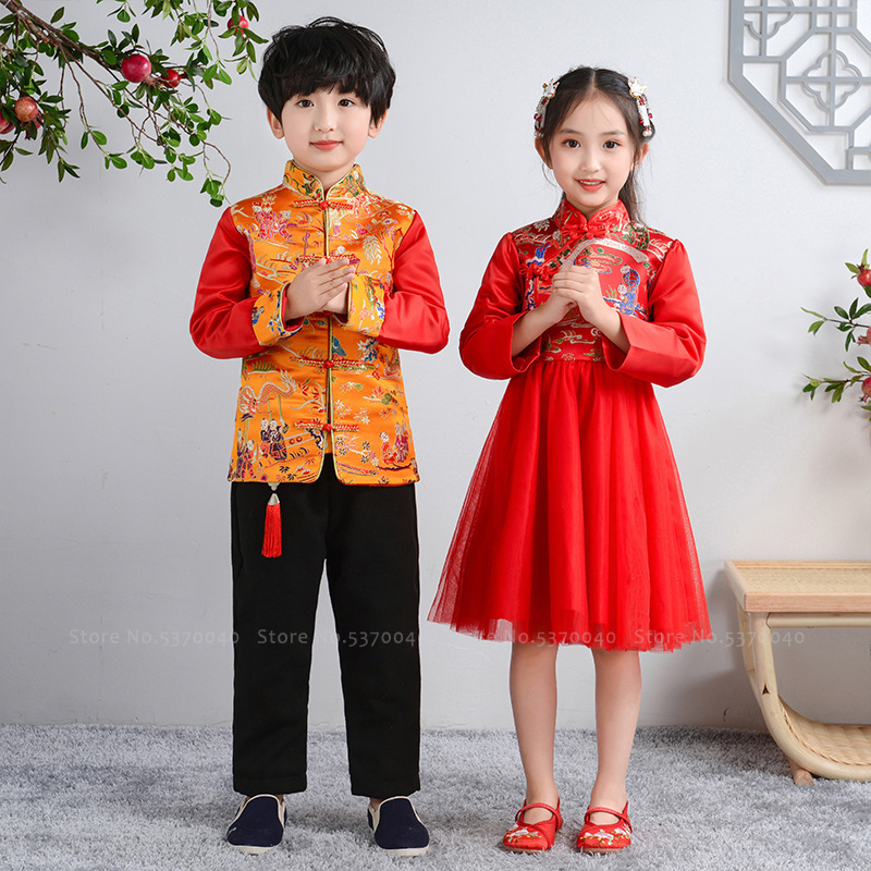 Chinese New Year Traditional Kids Tang Suit Children Girl Qipao Cheongsam Princess Wedding Dress Toddler Boy Hanfu Coat Top Pant