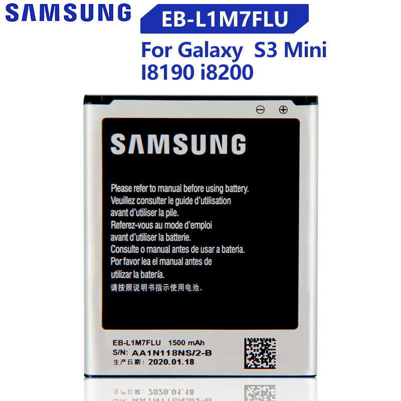 Original Replacement Samsung Battery For Galaxy S3 Mini S3Mini I8190N I8190 GT-I8190 GT-i8200 With NFC EB-L1M7FLU 1500mAh image