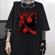 T-shirt d'été gothique Tomie pour femmes, Harajuku, lettre punk, ample, grande taille, Ulzzang, vêtements pour femmes
