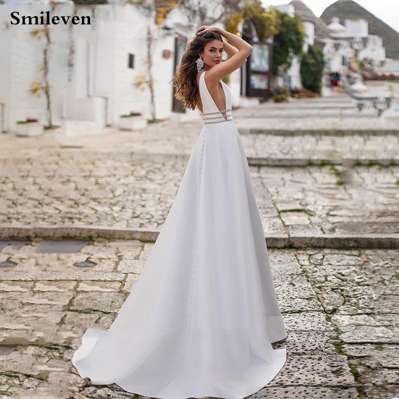 Smileven Satin Wedding Dress A Line Sexy V Neck Beaded Vestido De Noiva Hoho Bride Dresses Custom Made Wedding Gowns