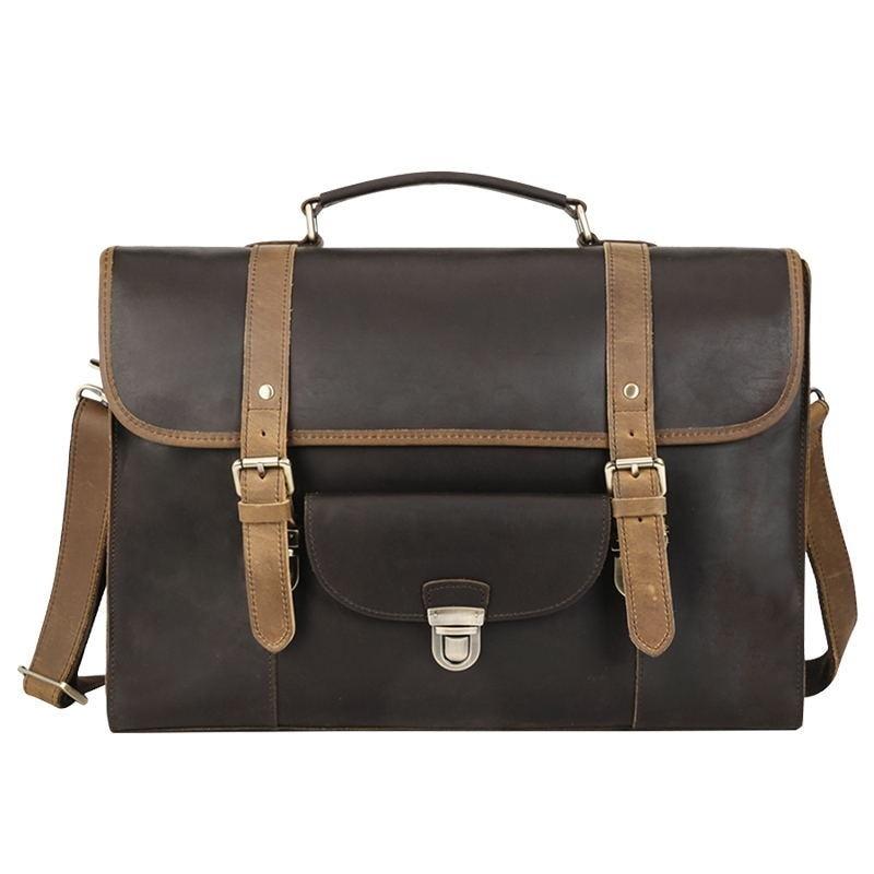 Men Briefcase Cow Leather Man Casual Vintage Tote Hand Briefcase 16