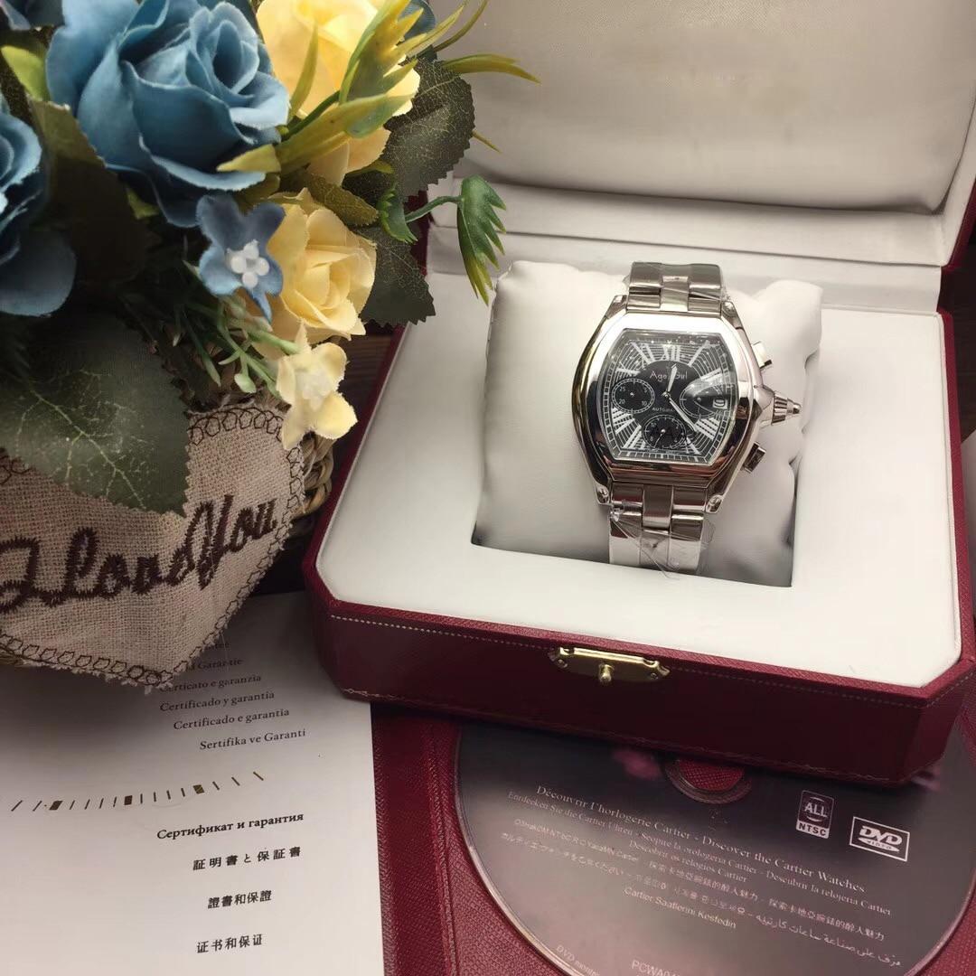 Classique nouveau hommes Quartz chronographe saphir acier inoxydable montres GMT lumineux Gents noir blanc bleu montre AAA + 2618