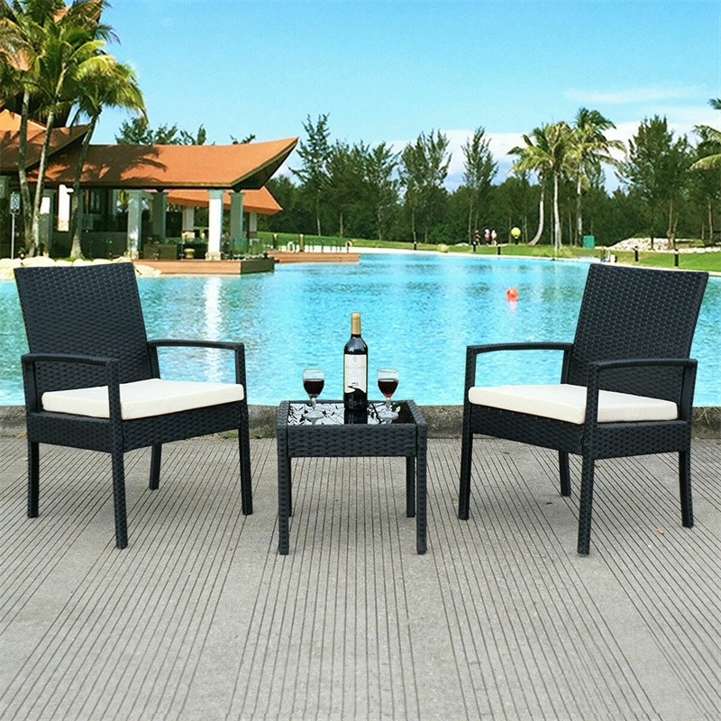 3 Pcs Outdoor Rattan Patio Furniture Set Garden Outdoor Patio Furniture High Quality Minimalist Modern Wicker Chair HW53509|  - title=